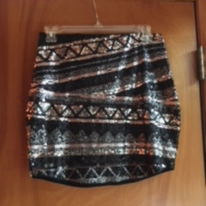 Express - Black and Grey sequin mini skirt